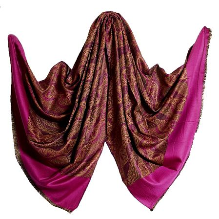 Magenta with Brown Reversible Woolen Kani Shawl