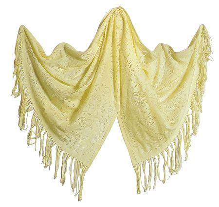 Fine Soft Light Woolen Yellow Stole