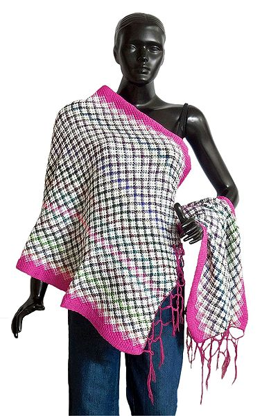 Check Design Woolen Stole with Dark Pink Border