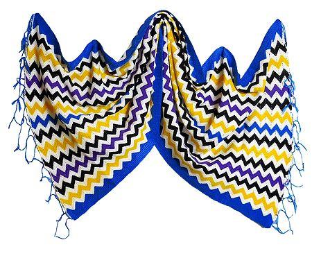 Multicolor Woolen Stole with Blue Border