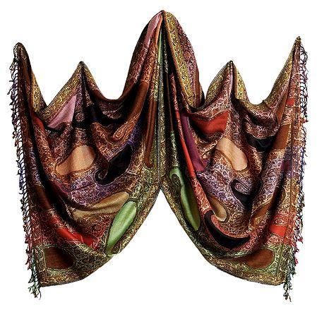 Kashmiri Light Woolen Stole with Multi-colored Motifs