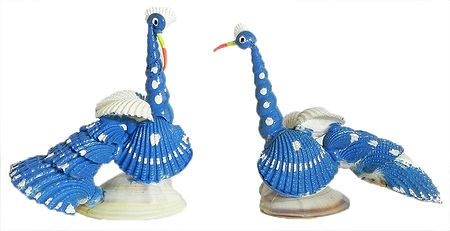 Set of 2 Blue Peacock