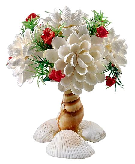 Shell Flower Vase with Flowers