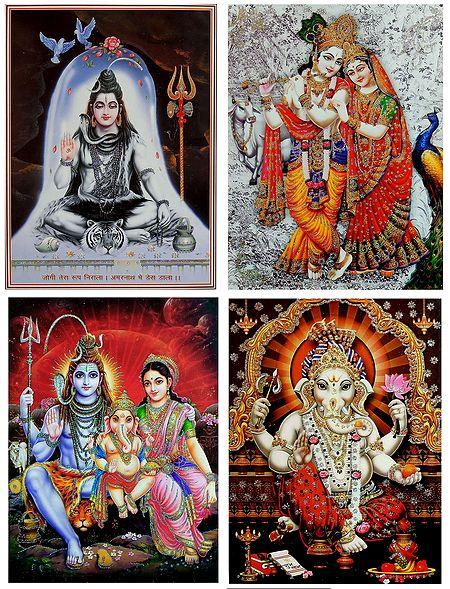 Shiva Family,Shiva,Radha Krishna and Ganesha - Set of 4 Glitter Posters