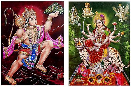 Hanuman and Vaishno Devi - Set of 2 Glitter Posters