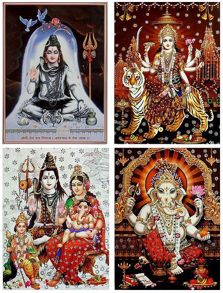 Shiva Family,Shiva,Bhagawati and Ganesha - Set of 4 Glitter Posters