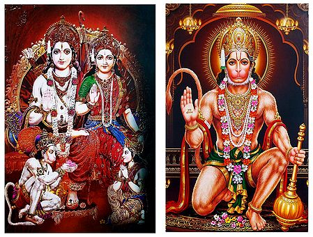 Ram Darbar and Hanuman - Set of 2 Posters