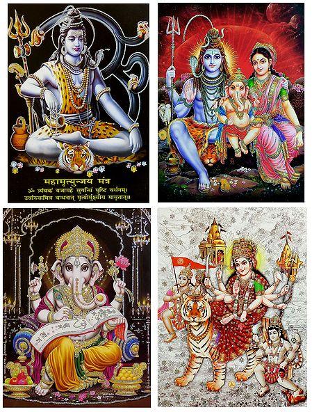 Shiva, Parvati, Ganesha, Vaishno Devi - Set of 4 Glitter Posters