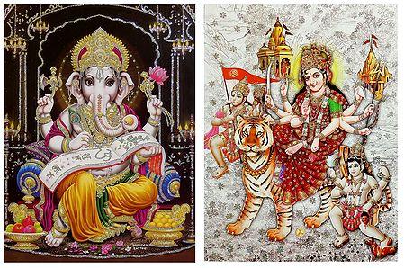 Ganesha and Vaishno Devi - Set of 2 Glitter Posters