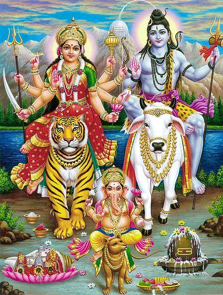 Shiva, Parvati and Ganesha with Vahanas