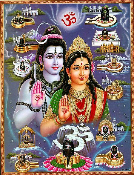 Shiva and Parvati with Twelve Jyotirlingas