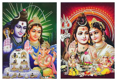 Shiva Family - Set of 2 Glitter Posters
