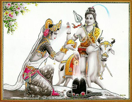 Parvati Worships Lord Shiva