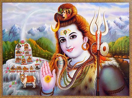Lord Shiva with Names of 12 Jyotirlingas