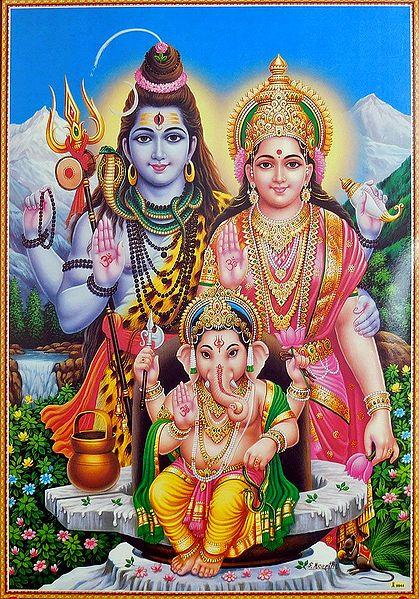 Shiva, Parvati with Ganesha