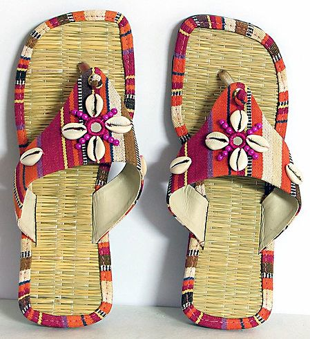 Colorful Ladies Sandal With Cowrie and Beads
