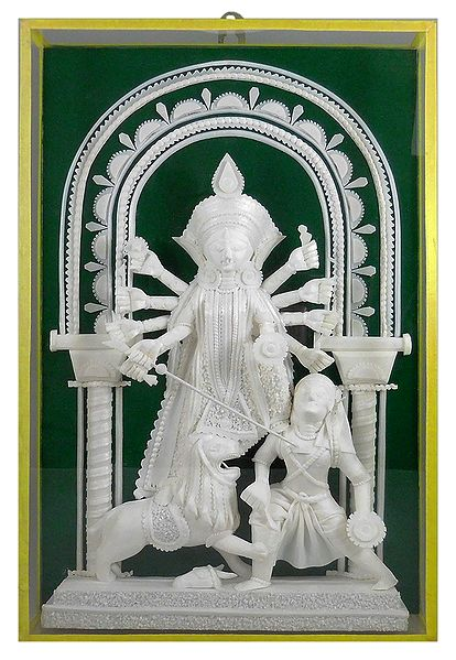 Devi Durga - Sholapith Sculpture Encased in Glass - Wall Hanging