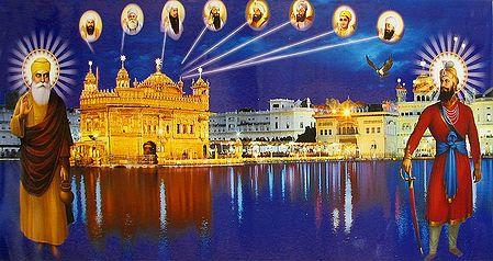 Golden Temple of Amritsar with the Ten Sikh Gurus