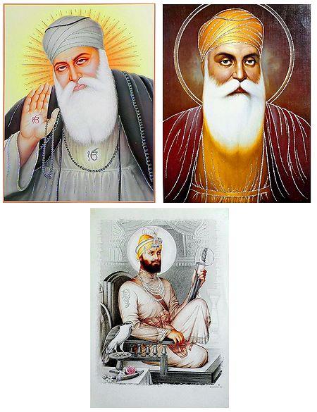 Guru Nanak and Guru Govind Singh Ji - Set of 3 Glitter Posters