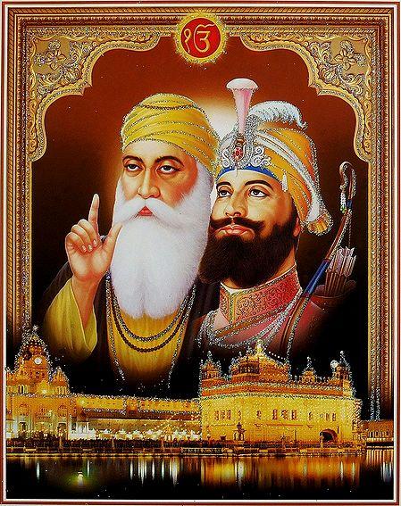Guru Nanak, Guru Gobind Singh and Guru Granth Sahib - Poster with Glitter
