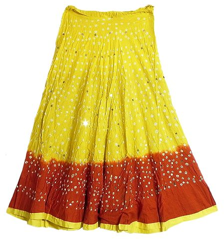Light Yellow with Dark Red Tie and Dye Skirt with Sequins