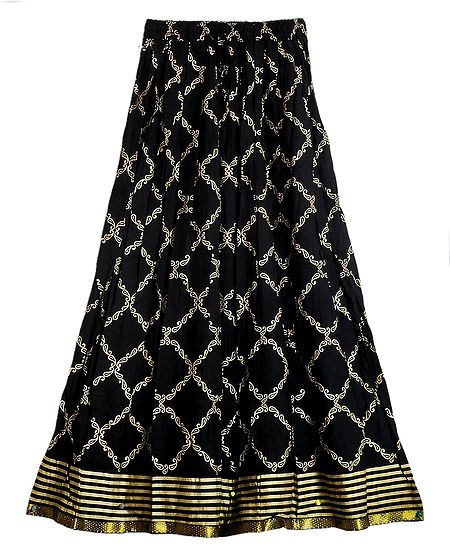 Black Cotton Skirt with Golden Print