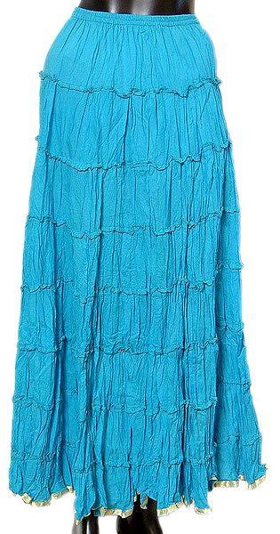 Blue Crushed Skirt with Zari Border