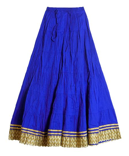 Blue Wrinkled Cotton Skirt with Zari Border