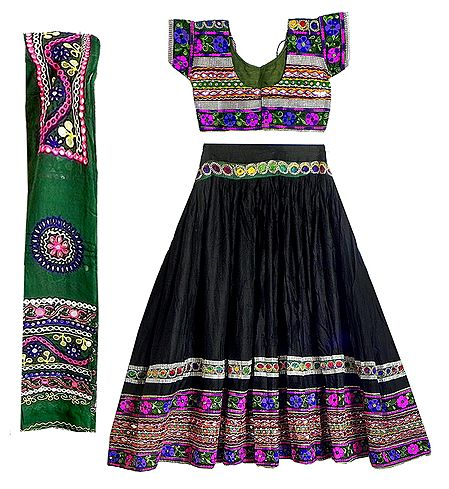 Multicolor Embroidery on Black Cotton Lehenga Choli with Green Dupatta and Elaborate Sequin Work