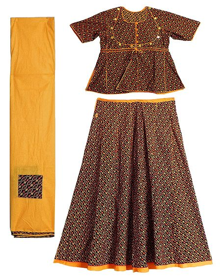 Yellow with Red Print on Black Cotton Lehenga Choli