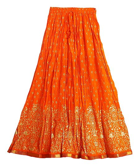 Print on Saffron Crushed Cotton Long Skirt