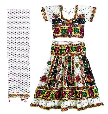 Multicolor Embroidery on White Printed Cotton Lehenga Choli with Dupatta and Elaborate Sequin Work