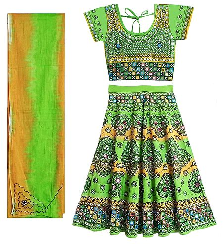 Gorgeous Embroidery on Green Printed Lehenga Choli with Dupatta and Elaborate Sequin Work