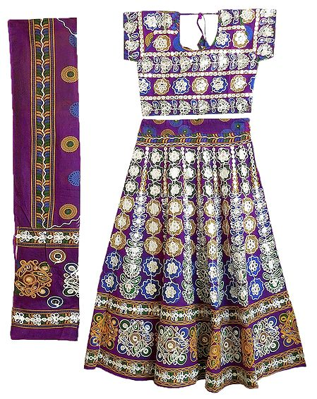 Multicolor Embroidery on Purple Cotton Lehenga Choli with Dupatta and Elaborate Sequin Work