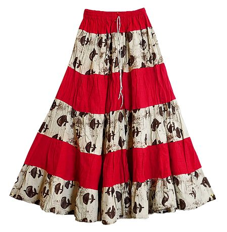 Printed and Red Cotton Long Skirt with Adjustable Elastic Waist