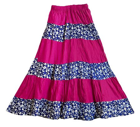 Printed with Pink Cotton Long Skirt with Adjustable Elastic Waist