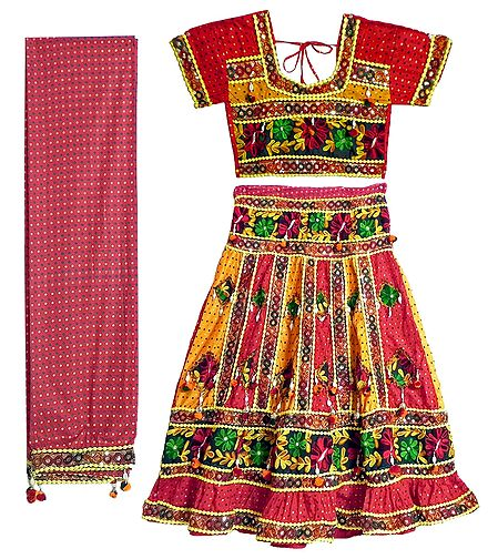 Multicolor Embroidery on Red Printed Cotton Lehenga Choli with Dupatta and Elaborate Sequin Work