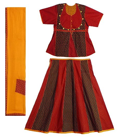 Black and Red Printed Cotton Lehenga Choli