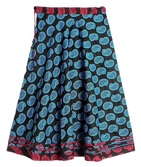 Blue Paisley Print on Black Cotton Long Skirt with Red Border