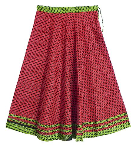 Black Print on Red Cotton Long Skirt with Green Border