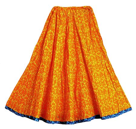 Tribal Print on Saffron Cotton Long Skirt with Adjustable Waist