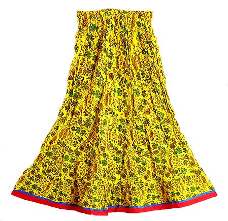 Print on Yellow Cotton Long Skirt with Adjustable Waist