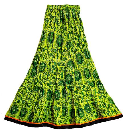 Printed Green Cotton Long Skirt with Adjustable Elastic Waist