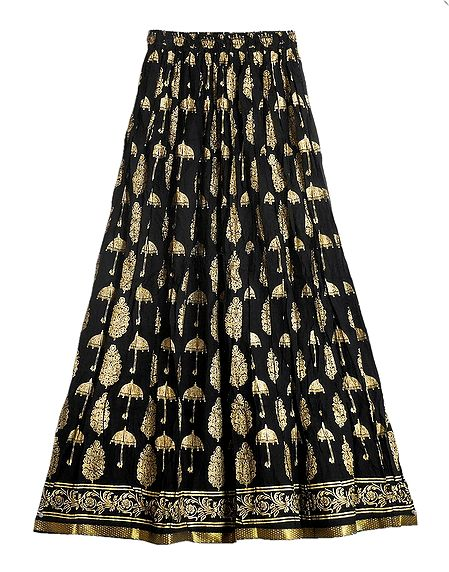Black Long Cotton Skirt with Golden Prints with Elastic Waist