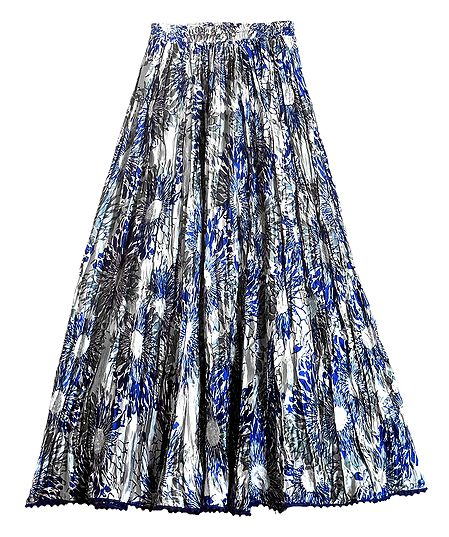 Blue Floral Print on Grey Satin Long Skirt