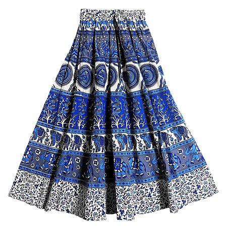 Blue, White and Grey Sangeneri Print Cotton Skirt