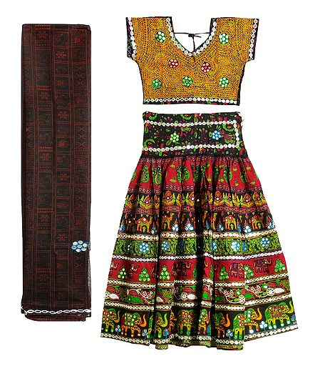 Multicolor Embroidery on Cotton Lehenga Choli with Dupatta and Elaborate Sequin Work