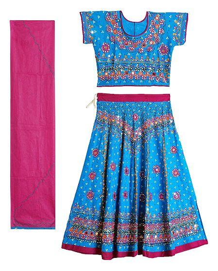 Embroidery on Cotton Lehenga Choli with Dupatta and Elaborate Sequin Work