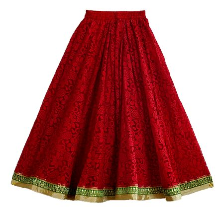 Red Brasso Long Skirt with Zari Border with Adjustable Elastic Waist