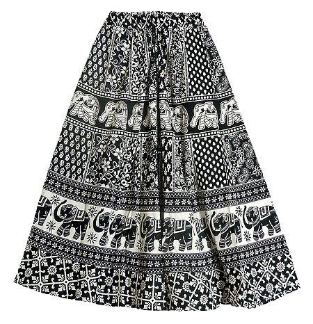 Black and White Sangeneri Print Cotton Skirt